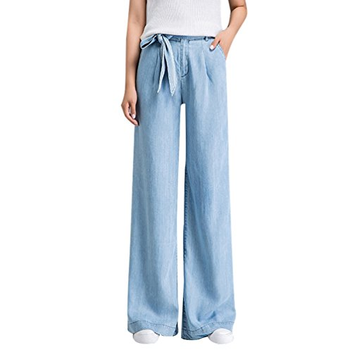 Xinwcanga Mujer Casual Rectos Vaqueros de Pierna Ancha Cómodos Mezclilla de Pantalón Luz Azul