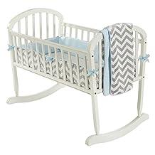 BabyDoll Minky Chevron Cradle Bedding Set, Blue