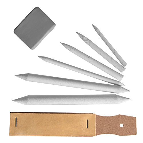 [eBoot Drawing Accessories Set Blending Stumps and Tortillions Pencil Sandpaper Pointer with Kneaded Eraser, 8 Pieces] (Colored Kneaded Art Eraser)