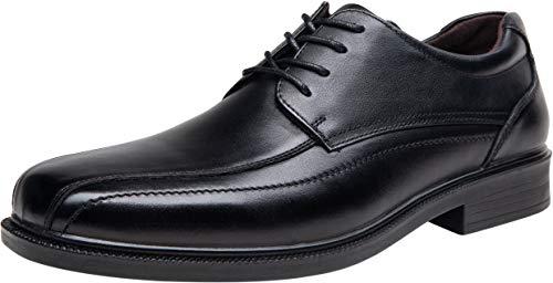 (JOUSEN Men's Dress Shoes Leather Formal Shoes Square Toe Oxford (8,Black))