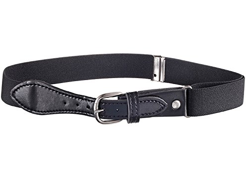 Toddler Adjustable Elastic Belts (Kids Elastic Adjustable Strech Belt with Leather Closure - Black)
