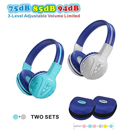 2 Pack of SIMOLIO Kids Bluetooth Headphones with Hearing Protection,Wireless Children Headphones,Kids Headphones for Boys,Girls, Wireless Kids Headphone with EVA case for School and Travel (Grey,Mint) (Kid Travel Headphones)