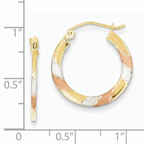 14ct Or blanc et rose rhodium Taille diamant 1.5x 20mm Boucles d'oreilles créoles