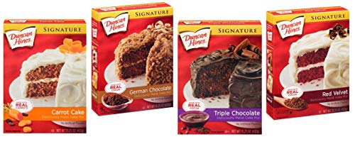 Duncan Hines Signature Cake Mix Variety 4 Pack Bundle - German Chocolate, Triple Chocolate, Classic Carrot Cake Mix, Red Velvet