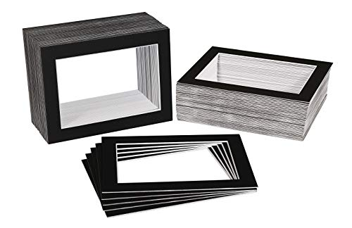 Golden State Art, Pack of 200 5x7 BLACK Picture Mats Mattes with WHITE Core Bevel Cut for 4x6 Photo ()