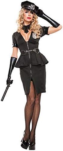 DXYQT Disfraz de Cosplay para Adultos, Mujer policía, Traje de actuación en el Escenario, Juego de Disfraces, Disfraces, Uniforme de Estudiante,Black-XL: Amazon.es: Hogar