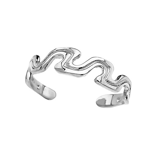 Elegant 10k White Gold Open Wavy Design Toe Ring (Design Gold White Wave)