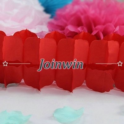 Joinwin 6Pcs Hanging Garland Four-Leaf Clover Garland Tissue Paper Flowers Garland Wedding Decor Party Decor 11.81Feet/3.6M (Red)