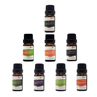:Pursonic 100% Pure Essential Aromatherapy Oils Gift Set-8 Pack , 10ML Eucalyptus, Lavender, Lemongrass, Mandarin, Orange, Peppermint,Tea Tree & Wintergreen