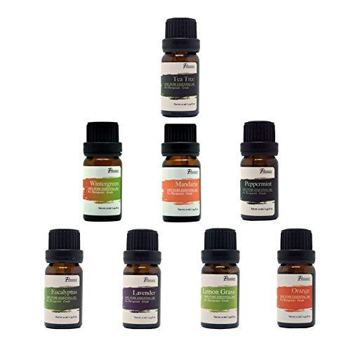 : Pursonic 100 % Pure essentielle aromathérapie Huiles Gift Set-8 Pack, 10ML Eucalyptus, lavande, citronnelle, mandarine, Orange, menthe poivrée, Tea Tree & Wintergreen