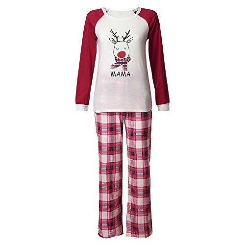 Christmas Mommy &Daddy&Me Women Deer Plaid Letter Tops+Pants Family Set Clothes Suit Clothes for Family by HHmei