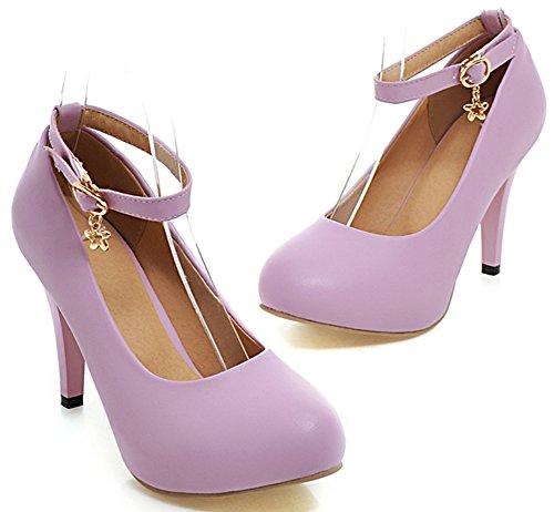 IDIFU Womens Sexy Platform Stiletto High Heels Pumps Ankle Strap Buckle Work Shoes Purple bAbNaZUqZq