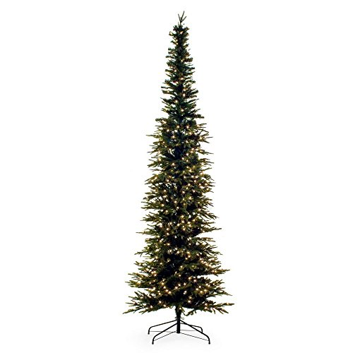 Artificial Christmas Spruce Tree. Fake Xmas Green Fir With Dense, Lush, Elegant, Realistic Branches, Stylish Slim, Pencil Shape. Great For Saves Space, Indoor Holiday Season Party Decor. (9 Foot) by Artificial-Christmas-Tree