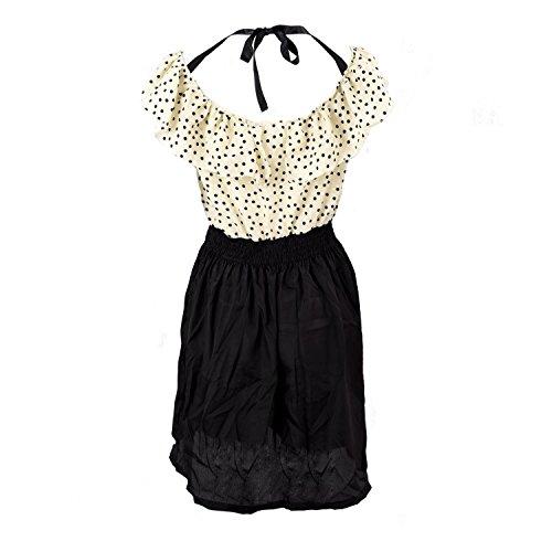 verano Tamano R Amarillo S clara Vestido lunar del corta de vestido manga las mujeres del la de TOOGOO del TRwqanpxtq