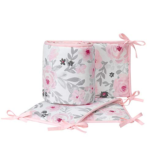 Bedtime Originals Blossom Pink/Gray Watercolor Floral 4-Piece Crib -