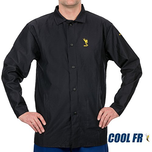 Weldas COOL FR Welding/Fire Retardant/Dielectric Jacket - Cotton Navy Blue - Size L by WELDAS
