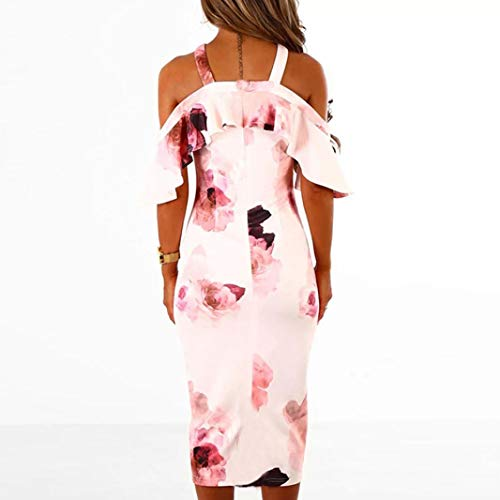 Pink Shoulder Off Sundress Dress Womens Cross Party Printing Falda NREALY Dress Evening PXw6S