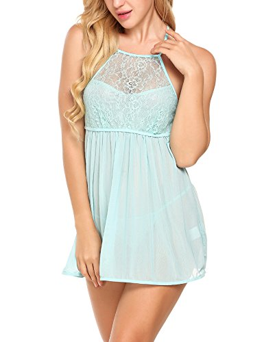 ADOME Women Sexy Lingerie Mini Babydoll Sheer Mesh Chemise Lace Nightwear Blue L