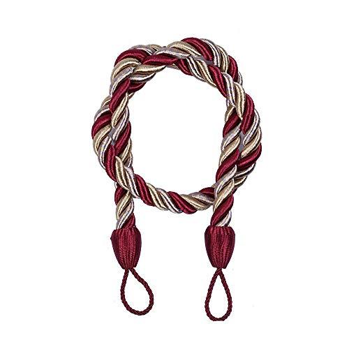 Cord Backs Tie (YRD TECH Garden Curtain Tassel Lashing for Window Curtain Cord Buckle Tiebacks Braided Tie Backs (Red))