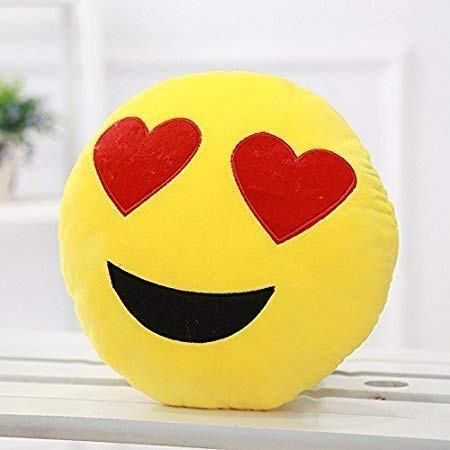 KIHOME Smiley Thick Plush Pillow Round Cushion Pillow Stuffed/Gift for Kids/for Birthday Gift -30CM, Yellow (Heart-Eyes Smiley) (B07Y1RV8PT) Amazon Price History, Amazon Price Tracker