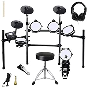 ZHRUNS Electronic Drum Set, Mesh Kit with Collapsible 3-Post Rack, Built-in Drum Coach with Play-Along Tracks, 15 Ready…