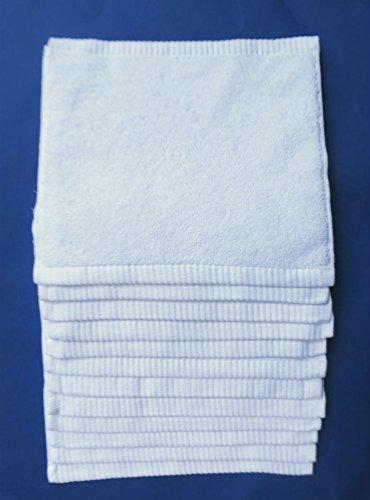 12 toallitas de maquillaje, blancas,multiusos, 30x30cm, 100%algodón,600gr