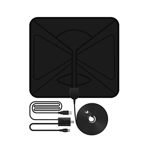 Ula HDTV Antennas Indoor Digital TV Antenna Thin 50 Mile Range Amplifier Free Reception with 10 Feet Signal Booster Upgraded Version Coaxial Cable