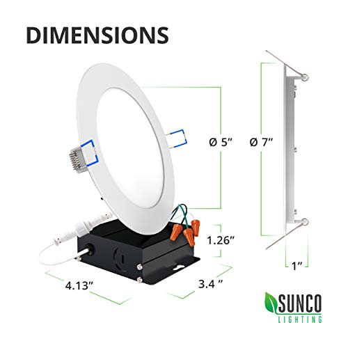 Sunco Lighting 8 Pack 6 Inch Slim LED Downlight with Junction Box, 14W=100W, 850 LM, Dimmable, 3000K Warm White, Recessed Jbox Fixture, IC Rated, Simple Retrofit Installation - ETL & Energy Star by Sunco Lighting (Image #9)
