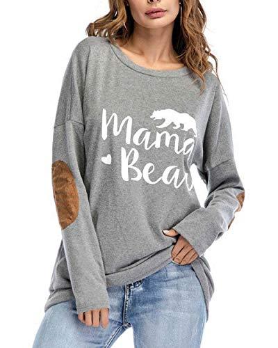 Womens Mama Bear Shirt Long Sleeve Crewneck Elbow Patches Sw