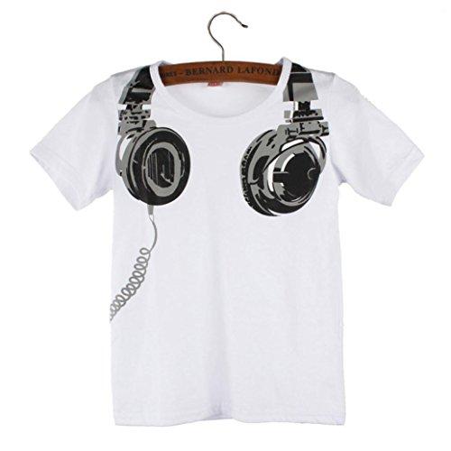 Fulltime(TM) Boy Kids Summer Casual Headphone Short Sleeve Tops Blouses T Shirt Tees Clothes (2-3 years, Grey)