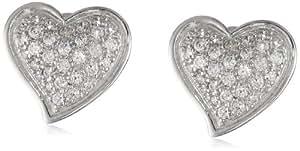 Sterling Silver Cubic Zirconia Pave Heart Stud Earrings (0.81 cttw)