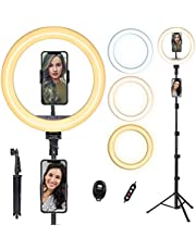 Ring Light with Tripod Stand, 10'' Ring Light with 63in Stand & Phone Holder - Dimmable Beauty Ringlight for Live Stream/Makeup/YouTube Video with iPhone Xs Max XR Android