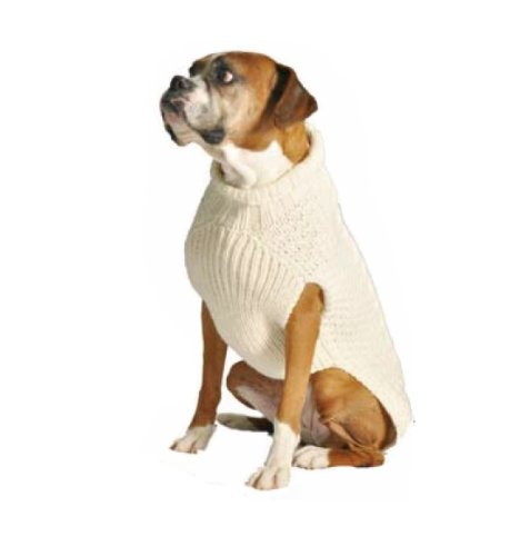 Chilly Dog Natural Cable Dog Sweater, XX-Small