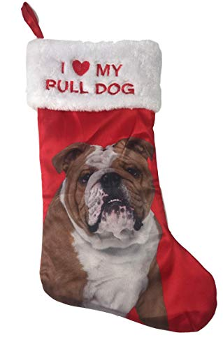 Bulldog Christmas Stocking - Holiday Time Pick Your Breed I Love My Breed Christmas Dog Pet Stocking with Picture of Breed Xmas Pet Gift (Bull Dog)