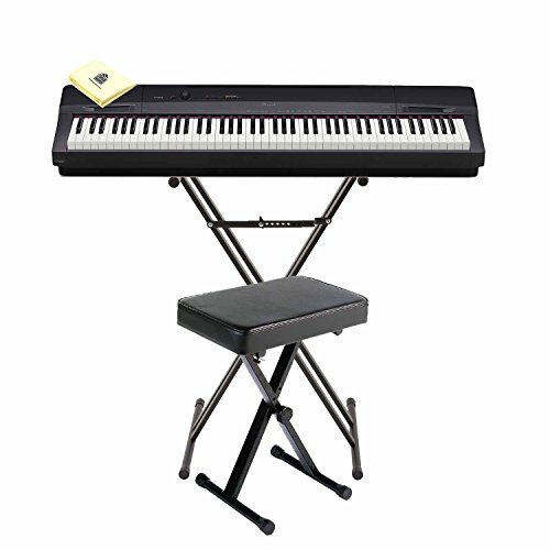 Casio PX-160 Privia Touch Sensitive 88 Key Tri Sensor Scaled Hammer Action Keyboard Digital Piano with 18 Built-In Tones Package with Bench, Piano Stand and Zorro Sounds Piano Polishing Cloth
