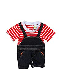 Joined At The Hip Rider Style- Boy's Denim Onesie Jumper with Attached t-Shirt