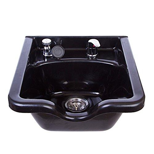 Square Shampoo Bowl Black ABS Plastic Salon and Spa Hair Sink Beauty Salon Equipment TLC-1016 KSGT (Sink Cabinet Salon)