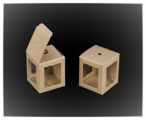 Natural Brown Cake Pop Bakery Box with Window 1.75x1.75x2 inch 25 PACK cupcake boxes, gift box, wedding, party favor, donut, pie, cookie (Brown Cake Favor Boxes)
