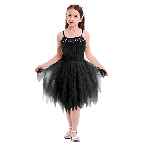 Girls Swan Princess Feather Ruffle Tulle Fancy Dress Up Ballerina Costume Toddler Baby Birthday Party Wedding Gown Ballet Dance Performance Summer Holiday Clothing Black 2-3 Years ()
