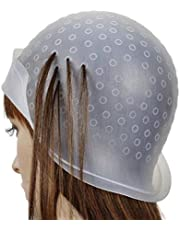 Transparent Silicone Hair dye Cap, Highlight Cap, Professional Salon Reusable Hair Colouring Highlighting Dye Hat with Hook (Clear)