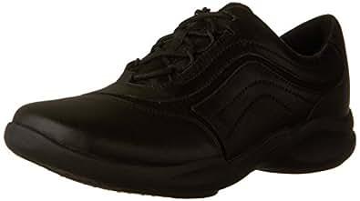 CLARKS Women's Wave Skip Walking Shoe, Black Leather, 6 W US