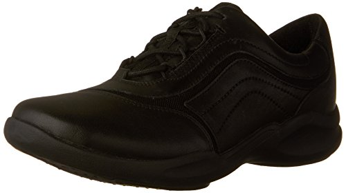 CLARKS Women's Wave Skip Walking Shoe, Black Leather, 6.5 W US