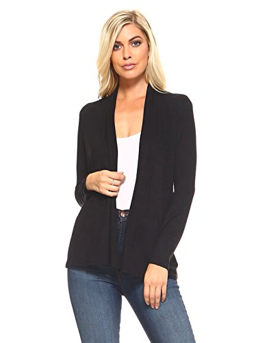 Front Jersey Cardigan (Open Front Cardigans for Women Lightweight Long Sleeve Knit Jersey Cardigan Large Black)
