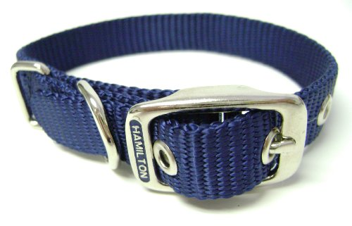 Hamilton 5/8-Inch by 18-Inch Single Thick Nylon Deluxe Dog Collar, Navy Blue