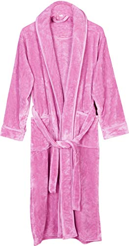 (NY Threads Women's Fleece Bathrobe- Shawl Collar Ultra-Soft spa Robe- Comfortable, Absorbent and Durable (X-Large, Pink))