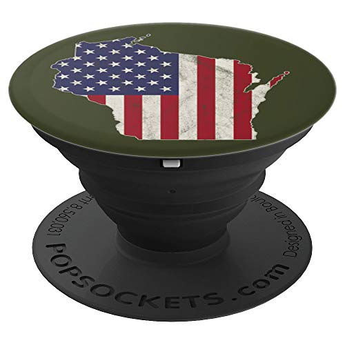 Wisconsin American Flag Distressed Worn Vintage Design - PopSockets Grip and Stand for Phones and Tablets