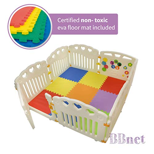 BBNet Baby Playpen with Play MAT Included   Playard 8 Pieces   Children Activity Center   Pack and N Play Mattress   Fitted EVA Floor Mats Panel with Gate Door for Babies Extra Wide   Nest Child