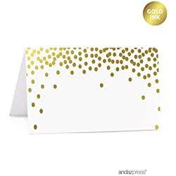 Andaz Press Metallic Gold Confetti Polka Dots Party Collection, Printable Table Tent Place Cards, 20-Pack