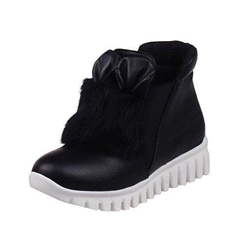 Latasa Damesmode Flats Enkelhoge Chelsea Boots Zwart