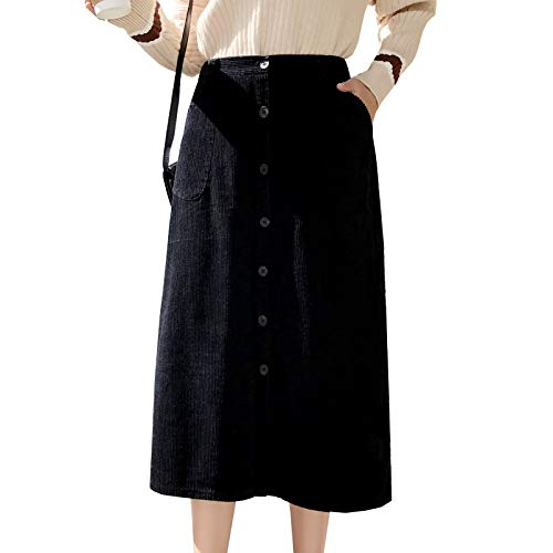 Flygo Women's Elastic Waist Button A-Line Corduroy Midi Long Skirt with Pockets (Small, Black) ()